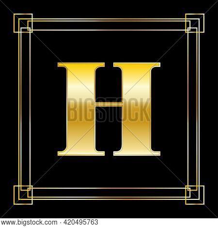 Letter H Logo Design With Square Ornament, Luxury Golden Design, Vector Illustration