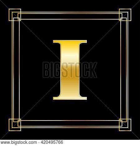 Letter I Logo Design With Square Ornament, Luxury Golden Design, Vector Illustration