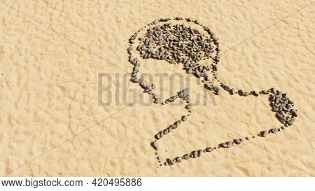 Concept conceptual stones on beach sand handmade symbol shape, golden sandy background, sign of human brain.  A 3d illustration metaphor for science, intelligence, anatomy, neurology, brainstorming