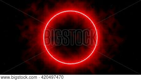 Neon Laser Vibrant Circle With Sparks, Haze, And Laser Grid On Starry Space Background. Red Vivid Ro