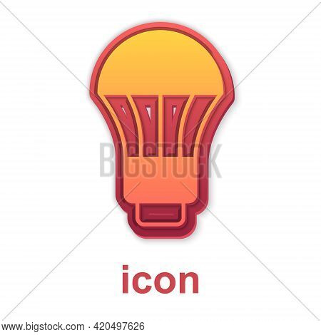 Gold Led Light Bulb Icon Isolated On White Background. Economical Led Illuminated Lightbulb. Save En