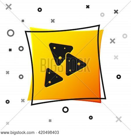 Black Nachos Icon Isolated On White Background. Tortilla Chips Or Nachos Tortillas. Traditional Mexi