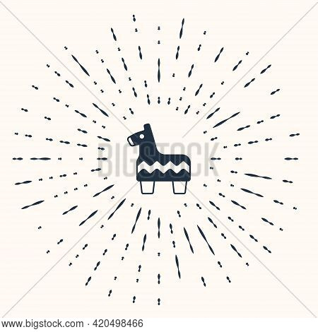Grey Pinata Icon Isolated On Beige Background. Mexican Traditional Birthday Toy. Abstract Circle Ran