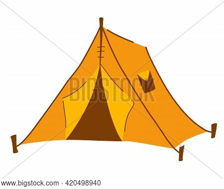 Yellow Tourist Tent. Tent Camp Travel Tourism Hiking Outdoor Equipment. Summer Forest Shelter Dome F