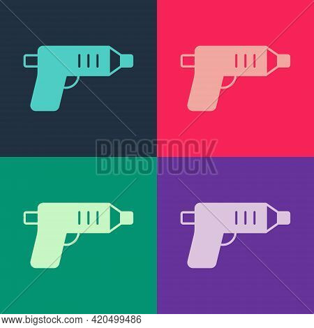 Pop Art Electric Cordless Screwdriver Icon Isolated On Color Background. Electric Drill Machine. Rep