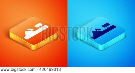 Isometric Wood Plane Tool For Woodworker Hand Crafted Icon Isolated On Orange And Blue Background. J