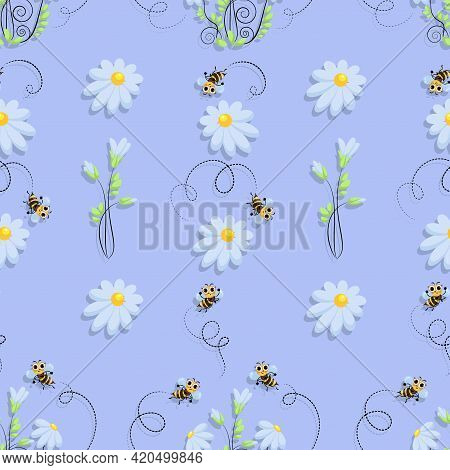 Bees. Vector Background. Bee Swarm In A Camomile Meadow. Bee Meadow. Cute Cartoon Character. Seamles