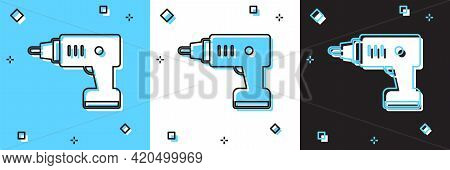 Set Electric Cordless Screwdriver Icon Isolated On Blue And White, Black Background. Electric Drill