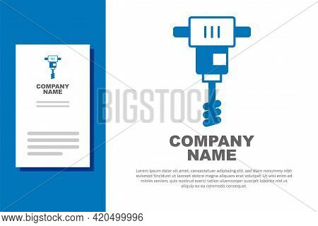 Blue Electrical Hand Concrete Mixer Icon Isolated On White Background. Handheld Electric Cement Mixe