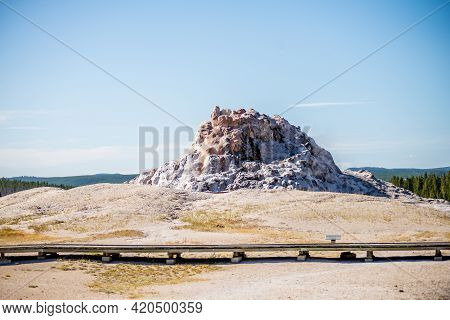 Tall Geyser Butte At Yellowstone National Park In Wyoming
