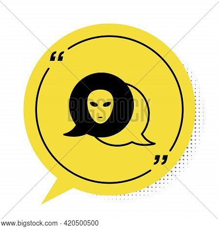 Black Alien Icon Isolated On White Background. Extraterrestrial Alien Face Or Head Symbol. Yellow Sp