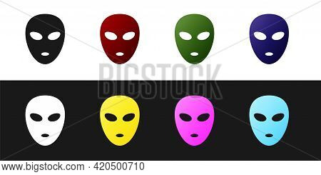 Set Alien Icon Isolated On Black And White Background. Extraterrestrial Alien Face Or Head Symbol. V