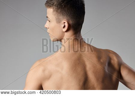 Athletic Men Muscled Arm Muscles Naked Back Gray Background Model Cropped Back View