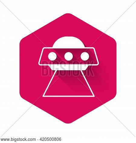 White Ufo Flying Spaceship Icon Isolated With Long Shadow Background. Flying Saucer. Alien Space Shi