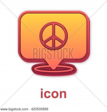 Gold Location Peace Icon Isolated On White Background. Hippie Symbol Of Peace. Vector
