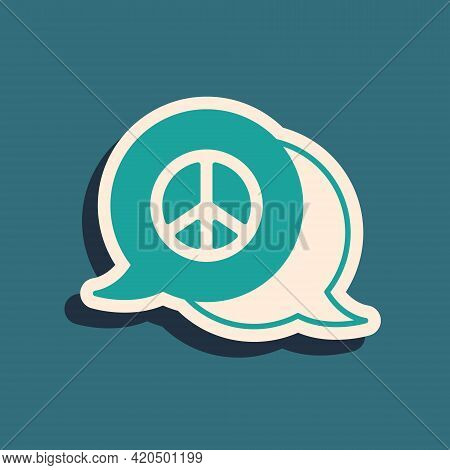 Green Peace Icon Isolated On Green Background. Hippie Symbol Of Peace. Long Shadow Style. Vector
