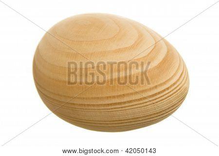Wooden Egg Isolated On White Background