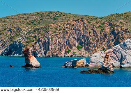 Rock formations in Aegean sea near Milos island, Greece