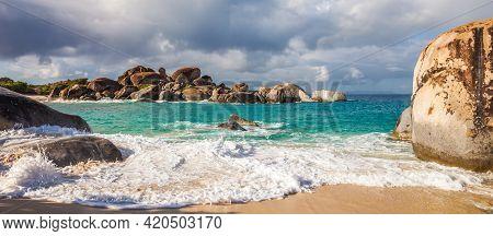 Beautiful Beach At The Baths National Park In Virgin Gorda, British Virgin Islands.