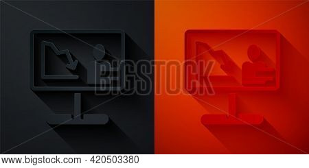 Paper Cut Global Economic Crisis News Icon Isolated On Black And Red Background. World Finance Crisi