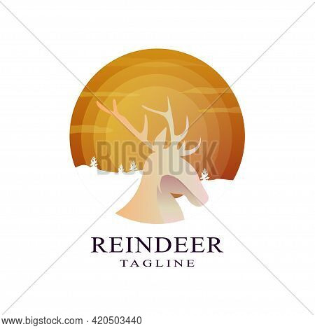 Deer Head Logo Design Template In Circle. Wild Animal Hunting Zoo, Deer Logotype, Flat Concept.