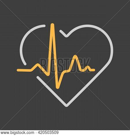 Heart Cardiogram, Heartbeat Vector Icon On Dark Background. Medicine And Medical Support Sign. Graph