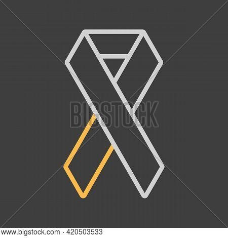 Aids Vector Icon On Dark Background. Medicine And Healthcare, Medical Support Sign. Graph Symbol For