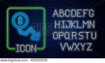 Glowing Neon Dollar Rate Decrease Icon Isolated On Brick Wall Background. Cost Reduction. Money Symb