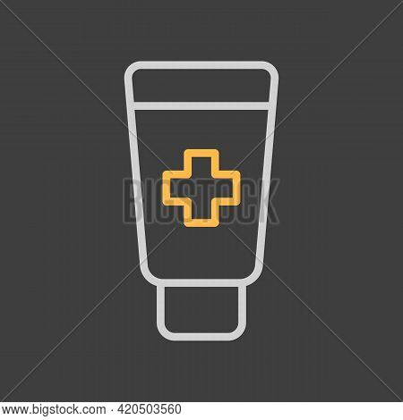Ointment Cream Tube Medicine Vector Icon On Dark Background. Medicine And Medical Support Sign. Grap