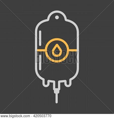 Blood Bag Vector Icon On Dark Background. Medicine And Healthcare, Medical Support Sign. Graph Symbo
