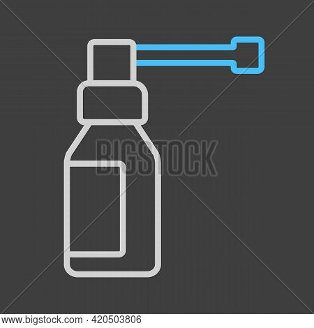 Medical Spray Vector Icon On Dark Background. Medicine And Healthcare, Medical Support Sign. Graph S