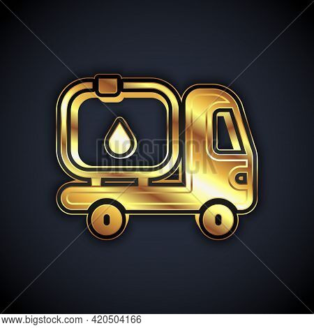 Gold Fuel Tanker Truck Icon Isolated On Black Background. Gasoline Tanker. Vector
