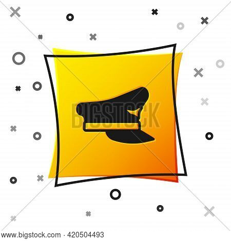 Black Pilot Hat Icon Isolated On White Background. Yellow Square Button. Vector