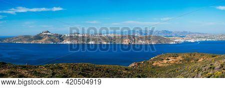 Scenic panorama of greek scenery - Aegean sea near Milos island on summer day in Greece