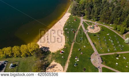 View From The Height Of The Beach And Vacationing People In Drozdy In Minsk.belarus