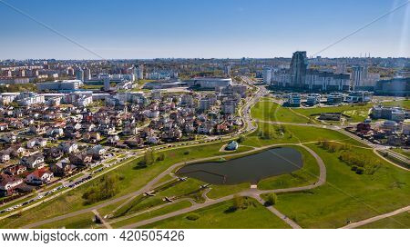 View From The Height Of The Drozdy District And The Minsk Sports Complex Minsk Arena In Minsk.belaru
