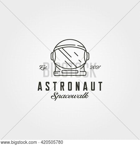 Astronaut Helmet Head Logo Line Art Vector Symbol Illustration Design