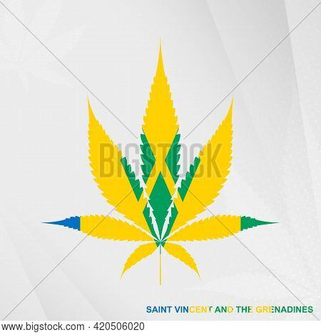 Flag Of Saint Vincent And The Grenadines In Marijuana Leaf Shape. The Concept Of Legalization Cannab