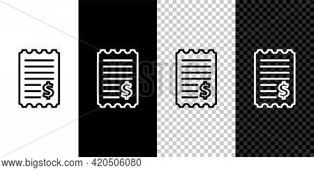 Set Line Paper Check And Financial Check Icon Isolated On Black And White Background. Paper Print Ch