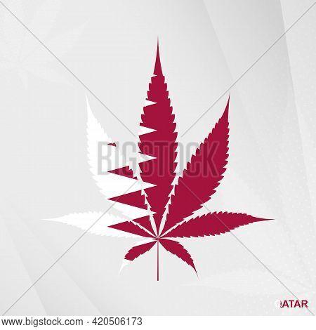 Flag Of Qatar In Marijuana Leaf Shape. The Concept Of Legalization Cannabis In Qatar. Medical Cannab