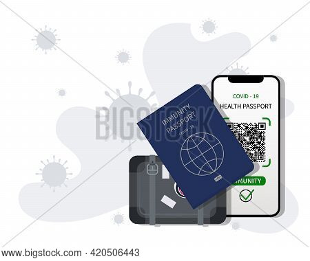 Suitcase. Vaccination Passport, Digital Health Passport, Mobile Phone. Test Results For Immunity Fro