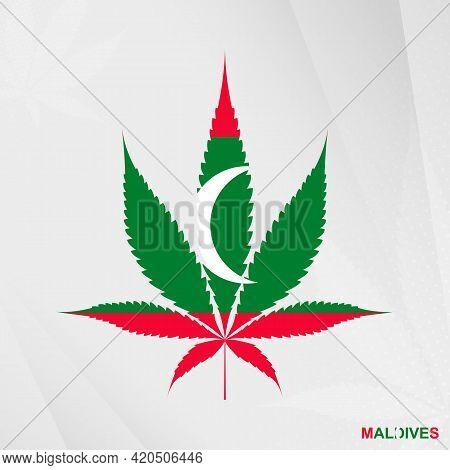 Flag Of Maldives In Marijuana Leaf Shape. The Concept Of Legalization Cannabis In Maldives. Medical