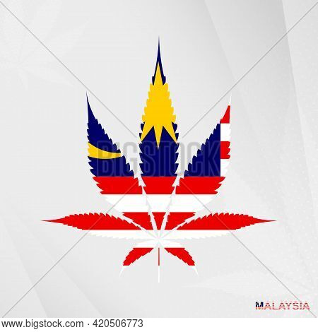 Flag Of Malaysia In Marijuana Leaf Shape. The Concept Of Legalization Cannabis In Malaysia. Medical