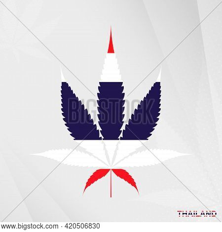 Flag Of Thailand In Marijuana Leaf Shape. The Concept Of Legalization Cannabis In Thailand. Medical