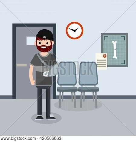 Man With Broken Arm In Cast In Hospital Room. The Provision Of Medical Care By Doctor. Hall, Seat An