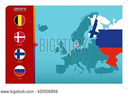 Map Of Europe With Marked Maps Of Countries Participating In Group B Of The European Football Tourna