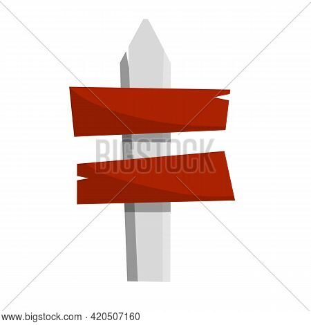 Path Pointer With Red Plate. Cartoon Flat Illustration. Direction Way. Turn Right. Element Of Road.