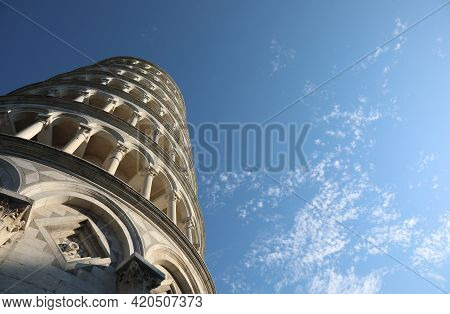Famous Leaning Tower Of Pisa Photographed From Below With A Breathtaking Shot And The Sky