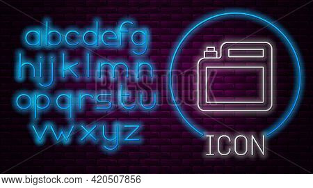Glowing Neon Line Canister For Motor Machine Oil Icon Isolated On Brick Wall Background. Oil Gallon.
