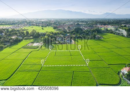 Land Or Landscape Of Green Field In Aerial View. Plot Of Land On Earth For Agriculture Farm, Farmlan